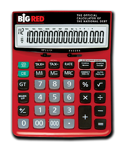 Big Red Calculator on Clear Background